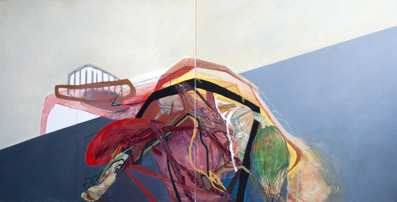 Meat&geometry #10, 130x260 cm, acrylic / oil on canvas, diptych, 2014