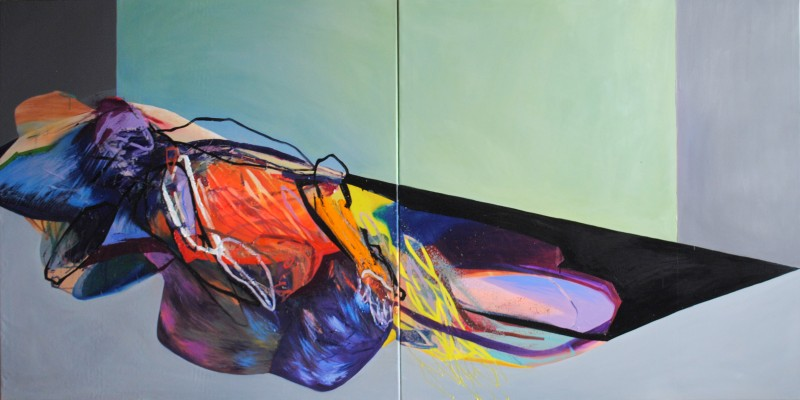 Meat&geometry #12, 130x260 cm, acrylic / oil on canvas, diptych, 2014