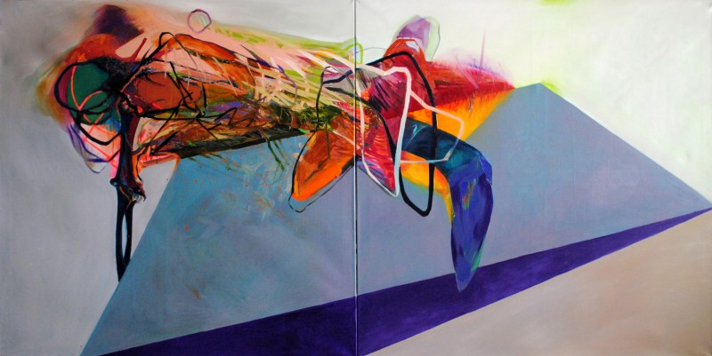 Meat&geometry #14, 130x260 cm, acrylic / oil on canvas, diptych, 2015