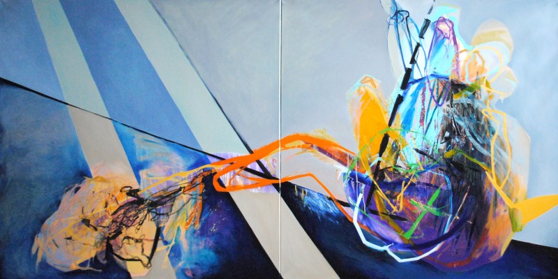 Meat&geometry #15, 150x300 cm, acrylic / oil on canvas, diptych, 2015, private collection