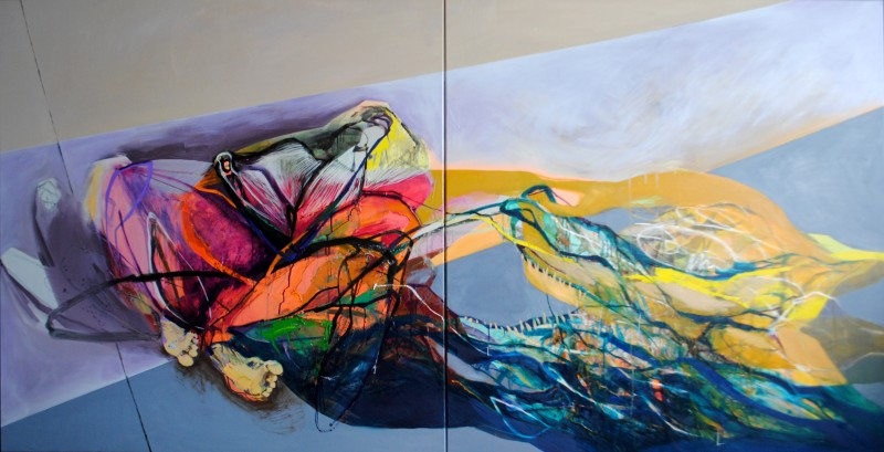 Meat&geometry #17, 130x260 cm, acrylic / oil on canvas, diptych, 2015, private collection