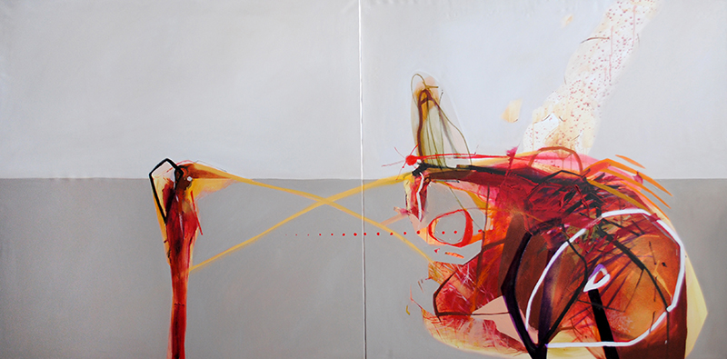 Meat&geometry #2, 130x260 cm, acrylic / oil on canvas, diptych, 2014