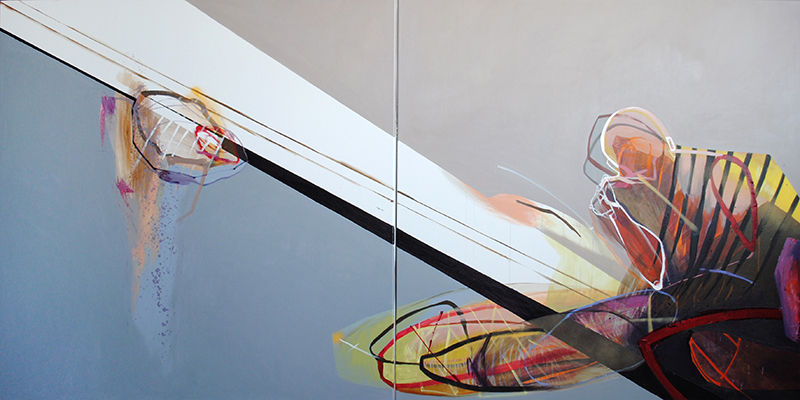 Meat&geometry #3, 130x260 cm, acrylic / oil on canvas, diptych, 2014, private collection