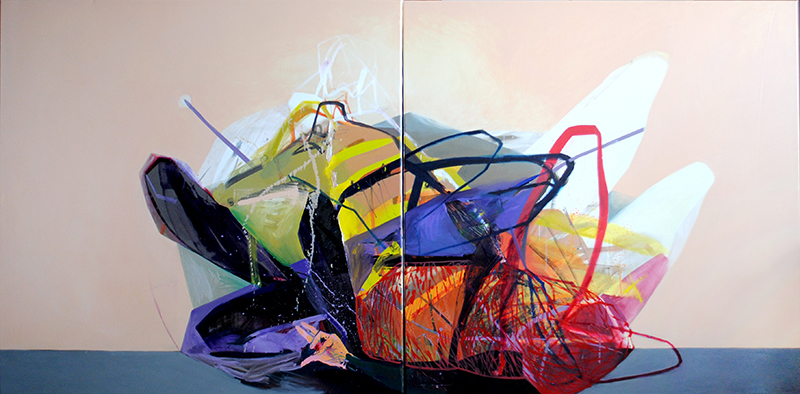 Meat&geometry #4, 130x260cm, acrylic / oil on canvas, diptych, 2014, private collection