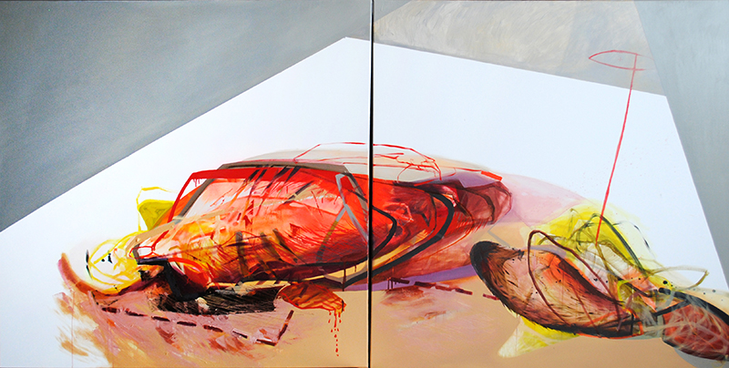 Meat&geometry #6, 130x260cm, acrylic / oil on canvas, diptych, 2014