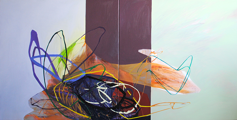 Meat&geometry #7, 130x260 cm, acrylic / oil on canvas, diptych, 2014