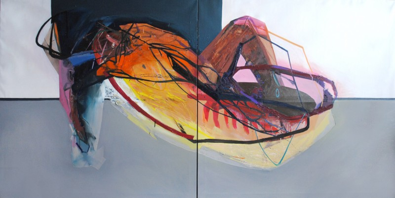 Meat&geometry #8, 130x260 cm, acrylic / oil on canvas, diptych, 2014