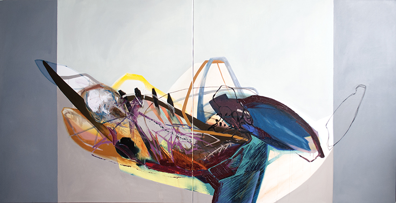 Meat&geometry #9, 130x260 cm, acrylic / oil on canvas, diptych, 2014