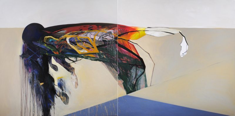 Meat&geometry #20, 130x260 cm, acrylic / oil on canvas, diptych, 2015
