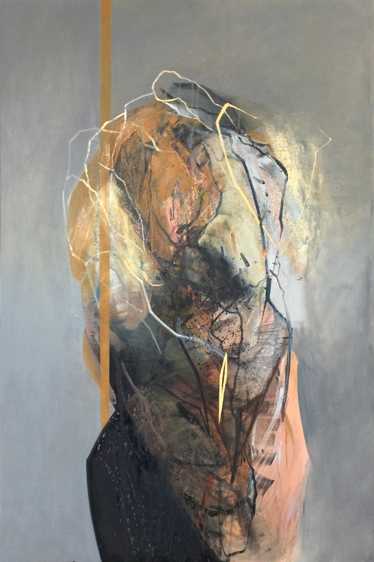 Fragments 1, acrylic and oil on canvas, 2019, 100x150 cm