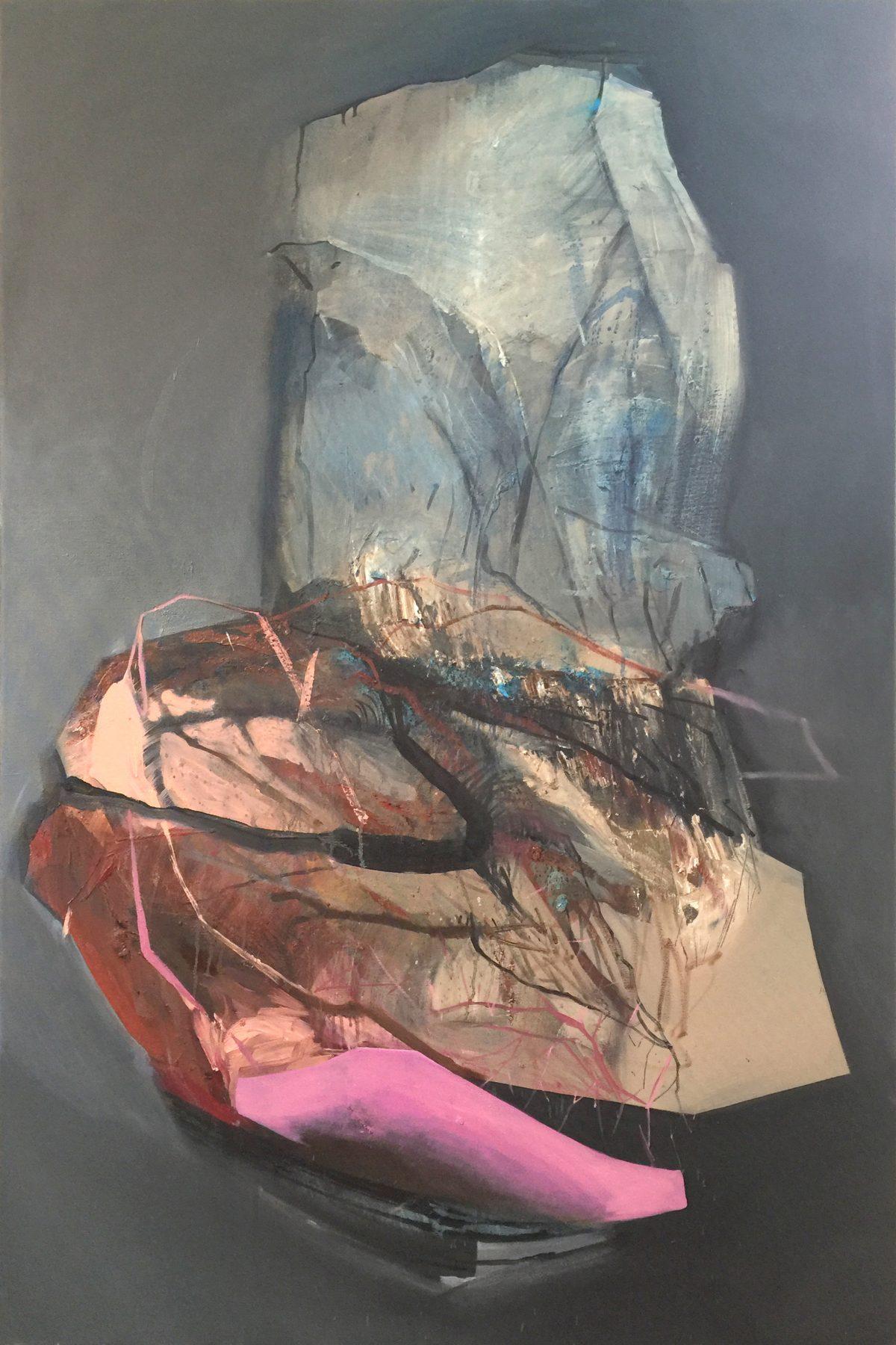 Fragments 2, acrylic and oil on canvas, 2019, 100x150 cm