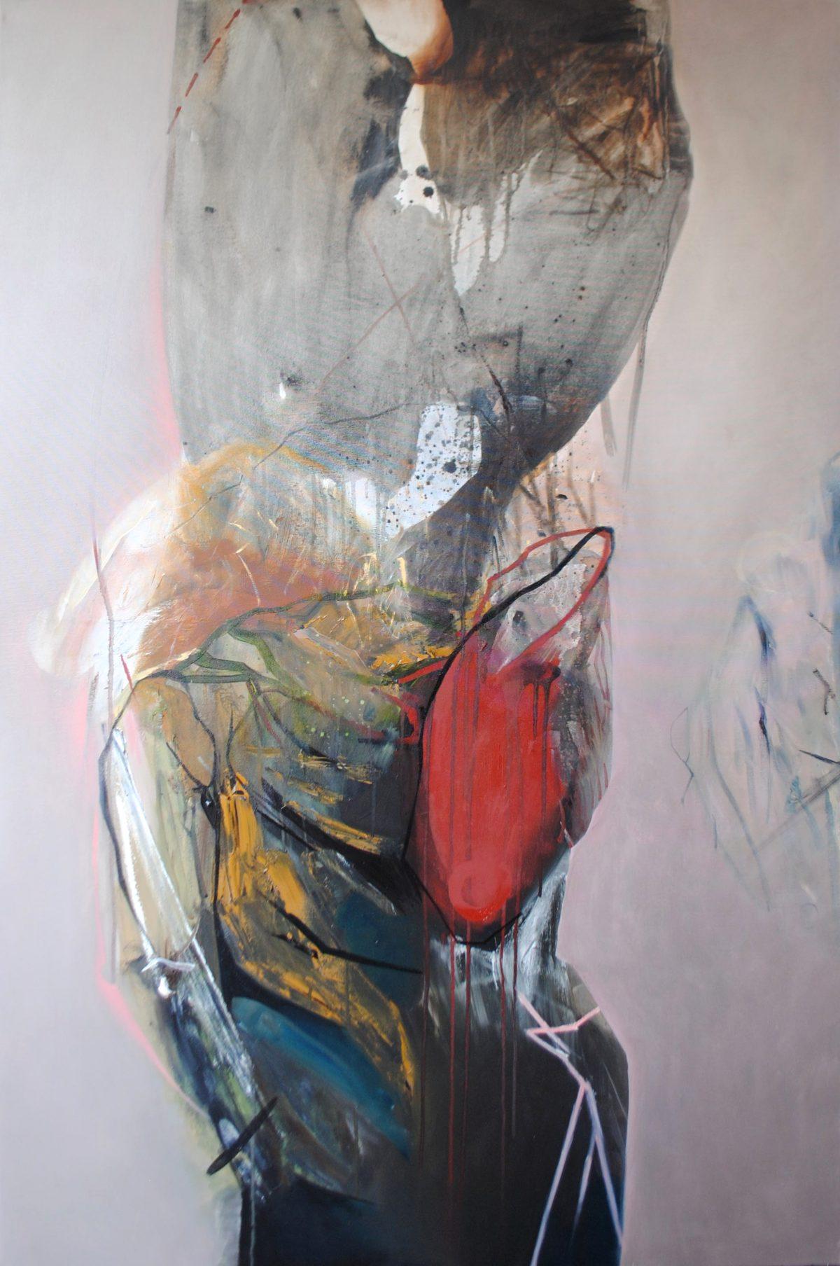 Fragments 3, acrylic and oil on canvas, 2019, 100x150 cm