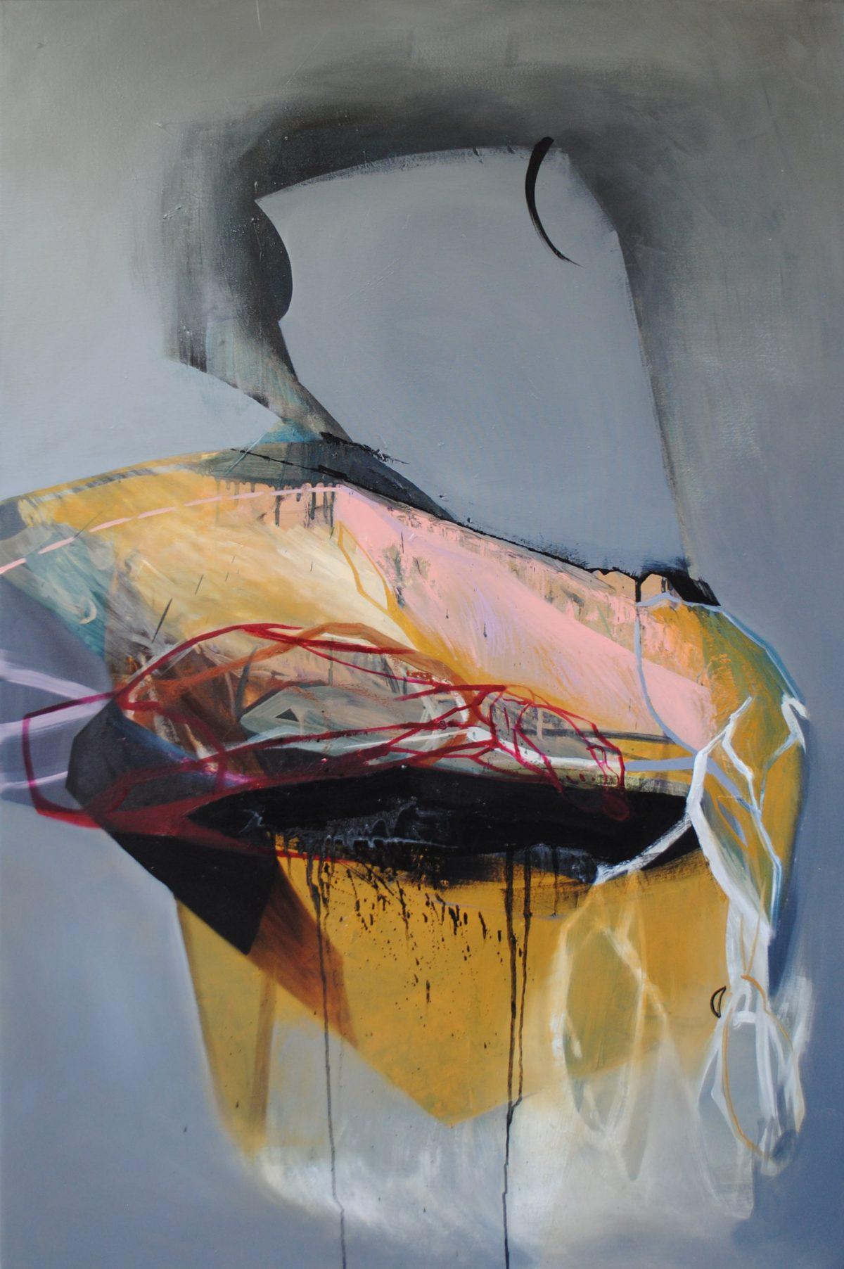 Fragments 4, acrylic and oil on canvas, 2019, 100x150 cm