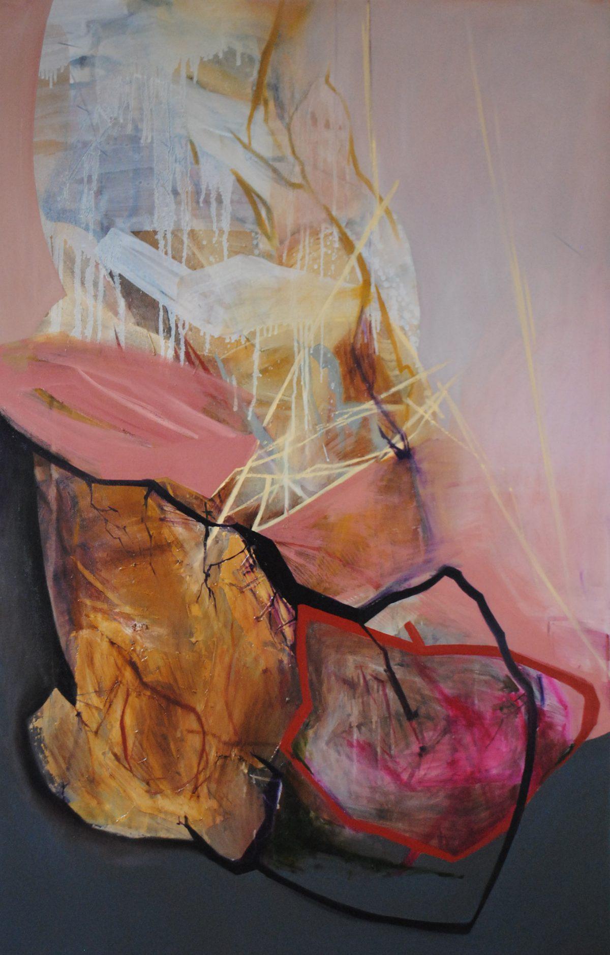 Fragments 5, acrylic and oil on canvas, 2019, 100x150 cm