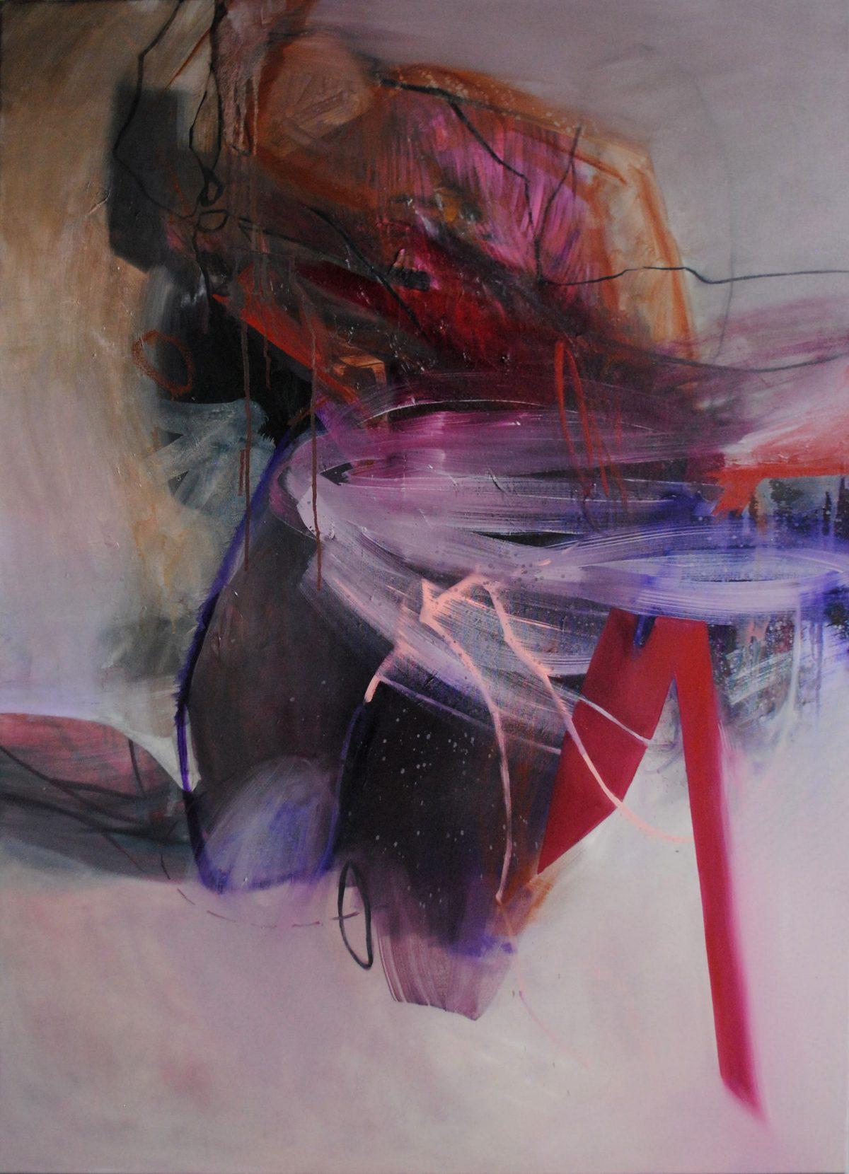 Fragments 6, acrylic and oil on canvas, 2019, 100x150 cm