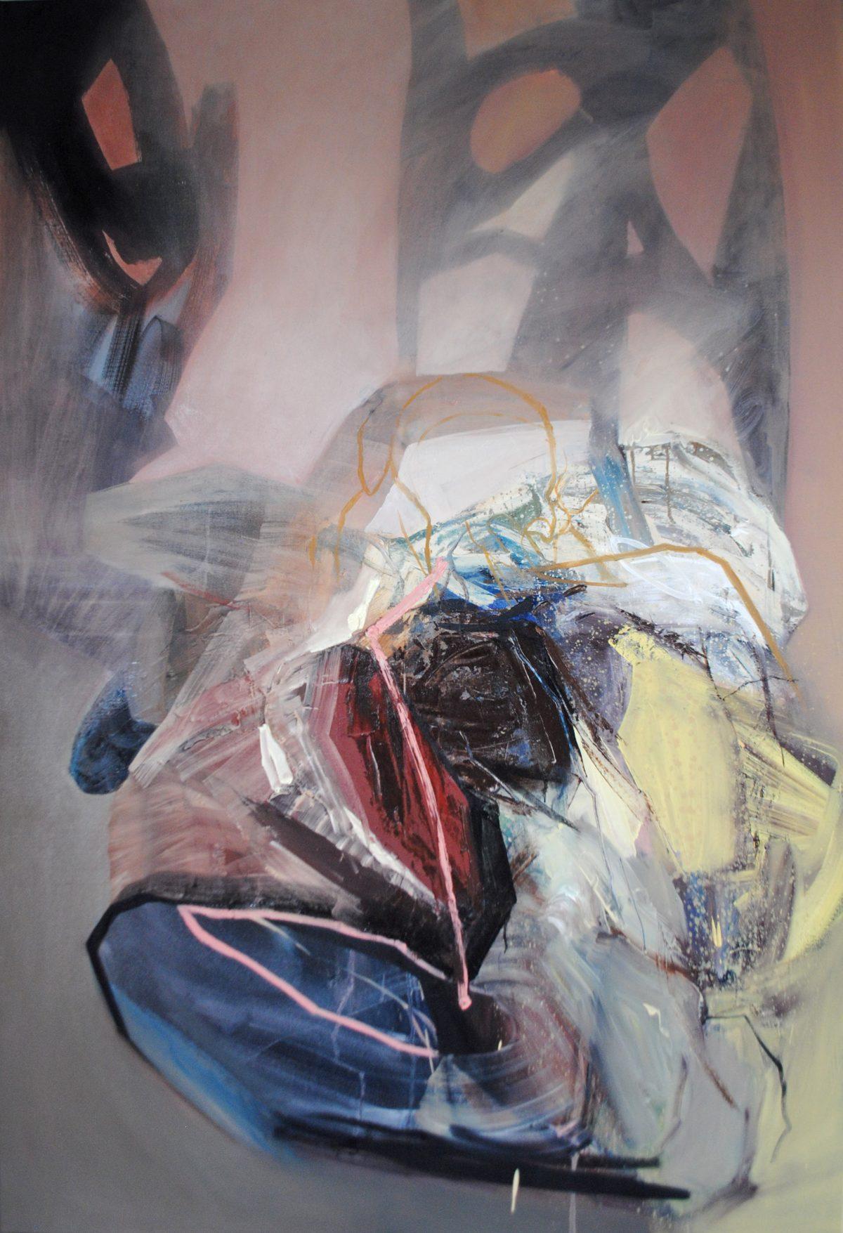 Fragments 7, acrylic and oil on canvas, 2019, 100x150 cm
