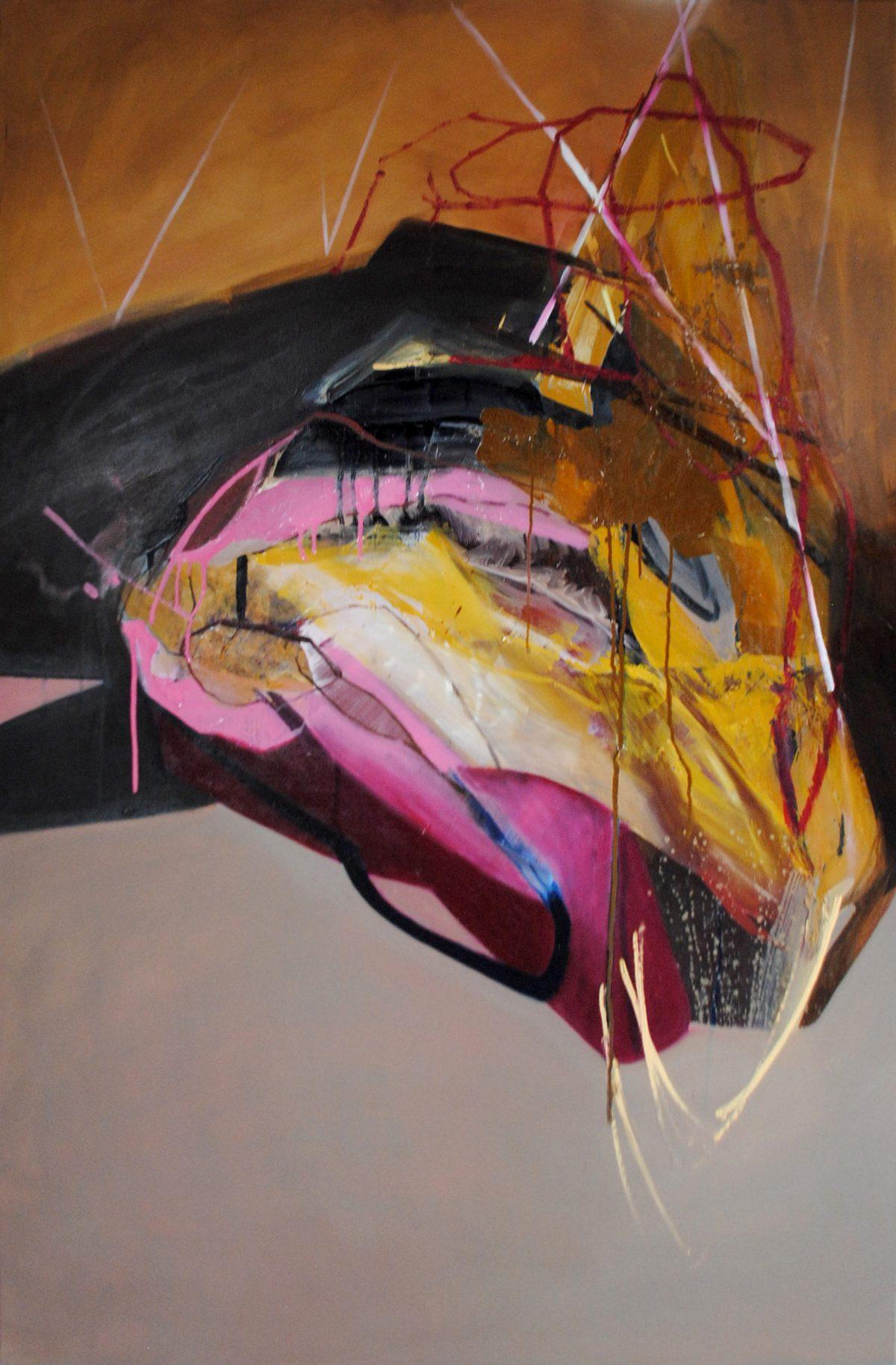 Fragments 8, acrylic and oil on canvas, 2019, 100x150 cm