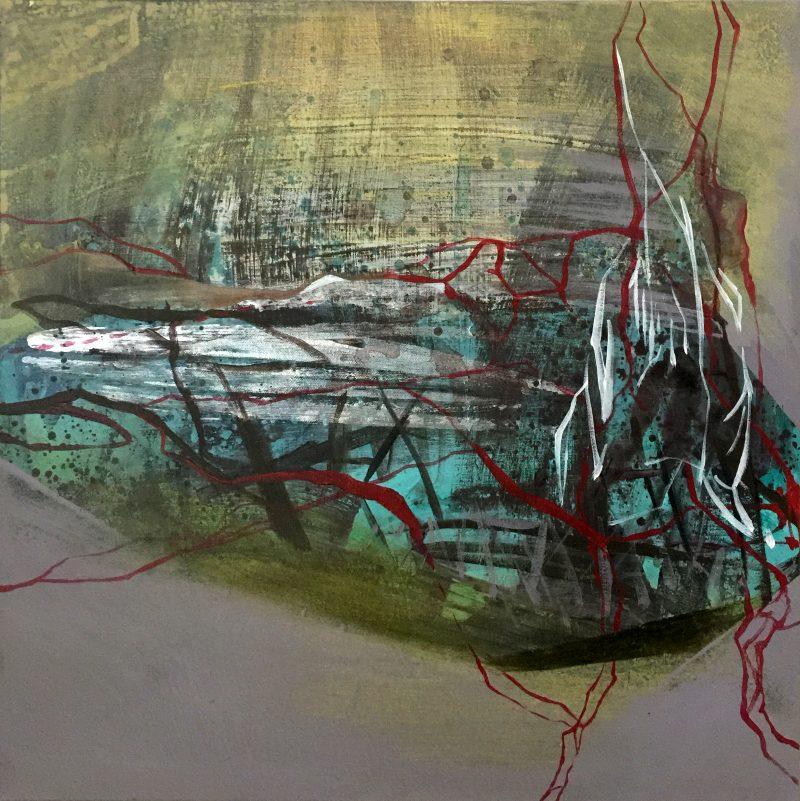 Natura pamięta_czerwony, 50x50 cm, acrylic on canvas, 2018