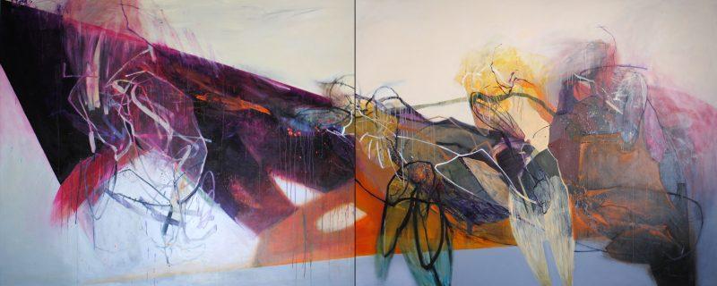 Rój, 380x150 cm, diptych, acrylic and oil on canvas, 2018