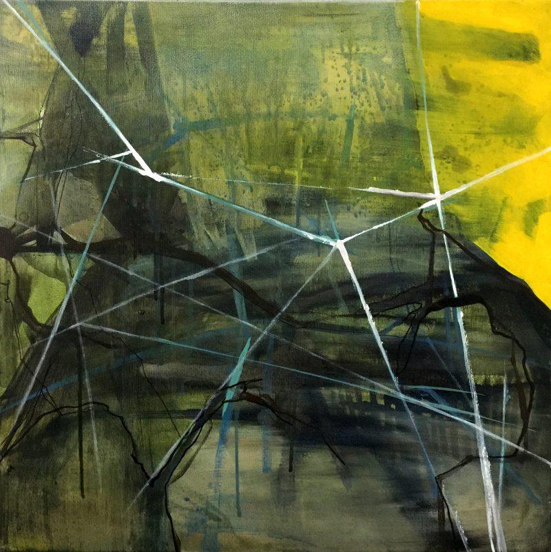 Natura pamięta_żółty, 50x50 cm, acrylic on canvas, 2018